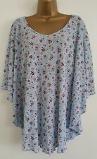 NEW Plus Size 16-32 Batwing Ditsy Floral Print Blue Top Blouse Tunic