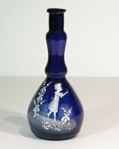 1890 MARY GREGORY COBALT BLUE ENAMEL DECORATED VICTORIAN ART GLASS BARBER BOTTLE
