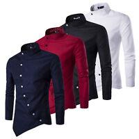 Mens Formal Business T-Shirt Blouse Long Sleeve Slim Dress Shirt Casual Tops Tee