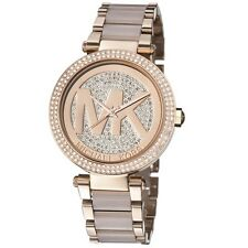 Michael Kors Parker Rose Gold Blush Pave Crystal Logo Dial MK6176 Women watch