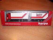 "Herpa 147590, Volvo FH12, Koffer-Gliederzug ""Sped. Milz"" Neuw. Vitrinenm. OVP"