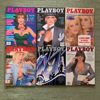 Vintage Playboy Magazine Lot of 6 Issued Late 1980's Very Good Condition
