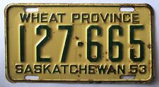 Saskatchewan 1953 License Plate # 127-665