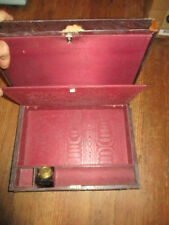 Vintage 1800s Wooden Horse Hair Writing Box Glass Ink Container, Key Nice!
