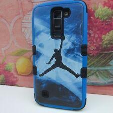 Blue Jordan Jumping Man Impact Hard+Rubber Hybrid Cover Case for LG K7 Tribute 5