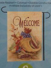 """Welcome"" Cornucopia Harvest Small Garden Flag 12.5"" X 18"""