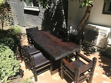 Solid Oregon Rustic Wooden Dinning Table + 6 Leather Chairs