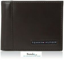 Tommy Hilfiger Men's Leather Credit Card Wallet Bifold Brown 31TL22X063