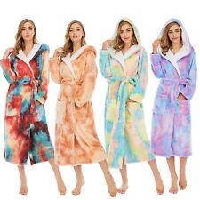 Ladies Womens Long Hooded Dressing Gown Soft Flannel Fleece Tie-Dye Bathrobe