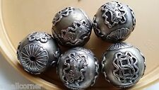 Vintage Chinese Silver Plated Beads 26 mm,pack of 5, engrave good luck and money