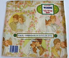 Vtg wedding Shower Gift Wrap 2 Sheets PaperCraft 70's scrapbook  Groom Bride NEW