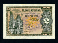 Spain:P-109,2 Pesetas,1938 * Gothic Church in Burgos * AU-UNC *