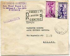 1952 Italia al Lavoro RACCOMANDATA Fernando Manzuoli Binazzi Biagiotti Firenze