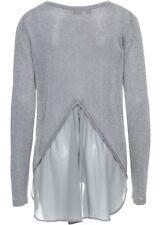 Pullover Pulli Damen Lagenlook Chiffon Blusenpullover 2in1 Glitzer 40 42 #375