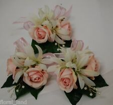 3x wedding bouquet silk flower baby pink rose white agapanthus corsage pearls