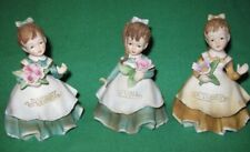 3 Lefton Girl of the Month Figurines January June October