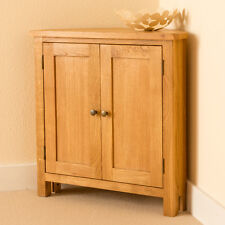 Lanner Oak Small Corner Cupboard / Waxed Sideboard / Solid Wood Two Door Cabinet