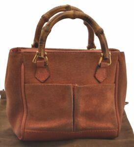 Authentic GUCCI Bamboo Mini Hand Bag Suede Leather Orange C4016
