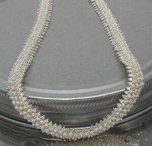 """16 3/4"""" 925 STERLING SILVER 10 mm Bali Style Chain Necklace- 34.3 g-NO RESERVE!"""