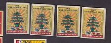 4 Anciennes   étiquettes allumettes Tchécoslovaquie  BN13942 sapin Noël