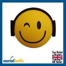 Smiley DJ Music Rave Headphones Car Aerial Ball Antenna Topper
