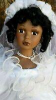"Porcelain Doll African American  Bride 22"""
