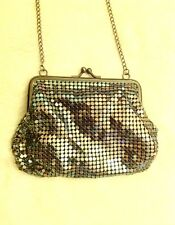 Silver blue iridescent chainmail small mini bag Evening purse messenger handbag