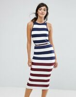 NWT Ted Baker Yuni Striped Multicolor Bodycon Belted Midi Dress SZ 2/ US 4 (S)