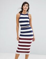 NWT Ted Baker Yuni Striped Multicolor Bodycon Belted Midi Dress SZ 3 /US 6 (M)