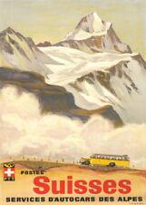 Vintage Ski Posters SUISSES D'AUTOCARS DES ALPES, Swiss, 1935, Art Deco Print