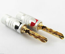 8pcs Nakamichi 24K Gold Plated Copper BFA 4mm Banana Plug Speaker Connector