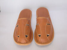 men's slippers-Original New Men/Gents Brown real Leather Slippers eu/size 42