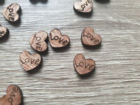 SMALL RUSTIC WOODEN LOVE HEARTS - 10MM - PACKS OF 50, 100