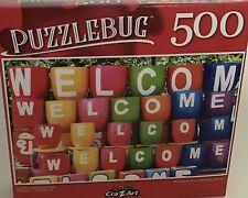 "PUZZLEBUG CraZart 18.25"" X 11"" Puzzle 500 Piece COLORFUL ""WELCOME"" POTS"