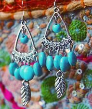 Turquoise Blue Silver Colour Stone Boho Ethnic Hippy Earrings Festival Triangle