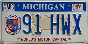 Michigan Worlds Motor Capital Optional License Licence USA Number Plate 91 HWX