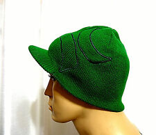 Hurley men surf skate ICONIC LOGO Reversible green visor beanie hat one size NEW