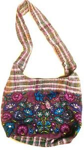 Cross Body Shoulder Boho Bag Bohemian Hobo Recycled Flower Purse