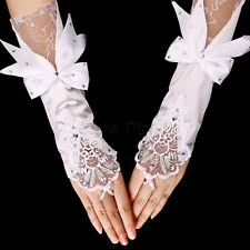 Bowknot Long Satin Floral Lace Fingerless Gloves Bridal Wedding Party Accessory
