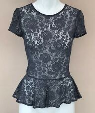 Topshop Lace Peplum Top Size 6 Navy Blue Formal Night Out Party Frill Hem Ruffle