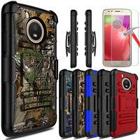 For Motorola Moto E4 / G5 Armor Case With Kickstand Belt Clip + Screen Protector