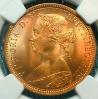 1887 Great Britain 1/2P Half Penny NGC MS 65 RD     (#179)