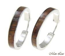 Koa Wood Hawaiian Rhodium Plated Brass 30mm Round Hoop Snap Closure Earrings