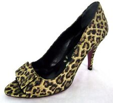 Hollywould Shoes Sz 6 Womens Black Gold Fabric Cheetah Open Toe Pump Heels Italy