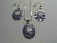 "CAMEO ROSE NECKLACE AND EARRING SET -  20"" CHAIN  WHITE  ROSE ON PURPLE"