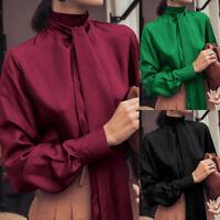 Women Long Sleeve Casual Plain Shirt Tops Stand Collar Tie Up Blouse Jumper Plus