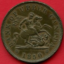 1850 Bank Of Upper Canada 1 Penny Coin Token ( Dies ⇈ )