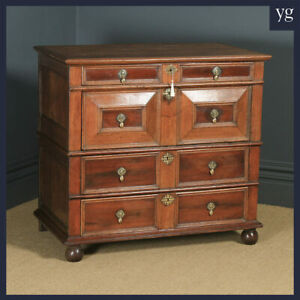 Antique 17th Century William & Mary Oak & Fruitwood Geometric Chest of Drawers
