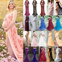 Pregnant Womens Lace Maternity Long Maxi Dress Gown Photography Party Wedding