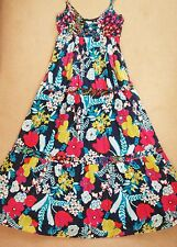 Monsoon UK10 Bright Floral Cotton Tiered Maxi Summer Sun Dress Long Lined Blue